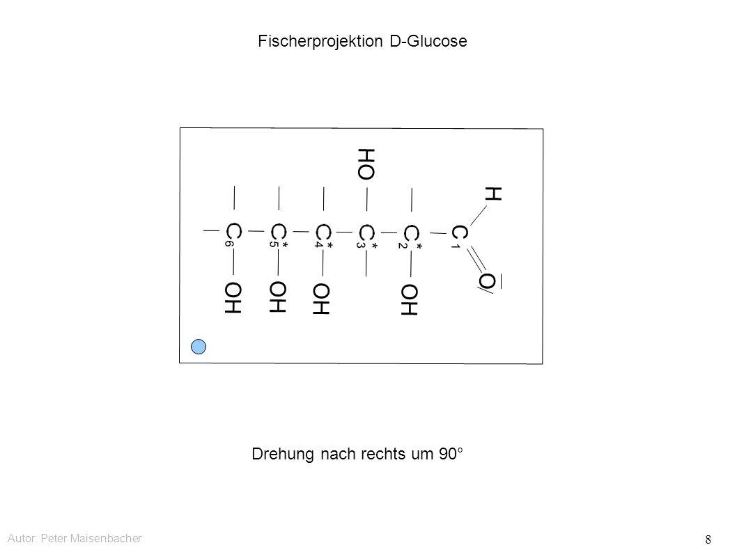 Autor: Peter Maisenbacher 8 Fischerprojektion D-Glucose C OH HO OH O H * * * * 1 2 3 4 5 6 Drehung nach rechts um 90°