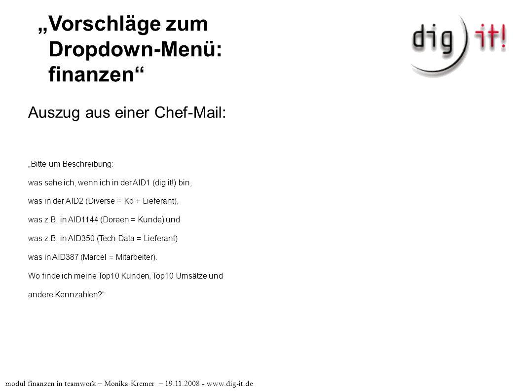 """ Finanzbuchhaltung in AID0001 (dig it!) modul finanzen in teamwork – Monika Kremer – 19.11.2008 - www.dig-it.de Siehe Tabelle: modul_finanzen-OpenOffice.org Calc"
