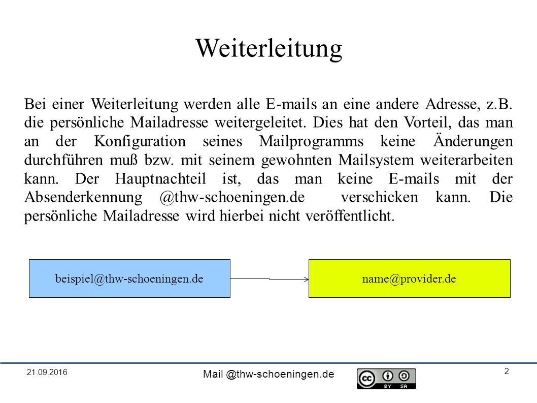 21.09.2016 Mail @thw-schoeningen.de 2 Weiterleitung Bei einer Weiterleitung werden alle E-mails an eine andere Adresse, z.B.