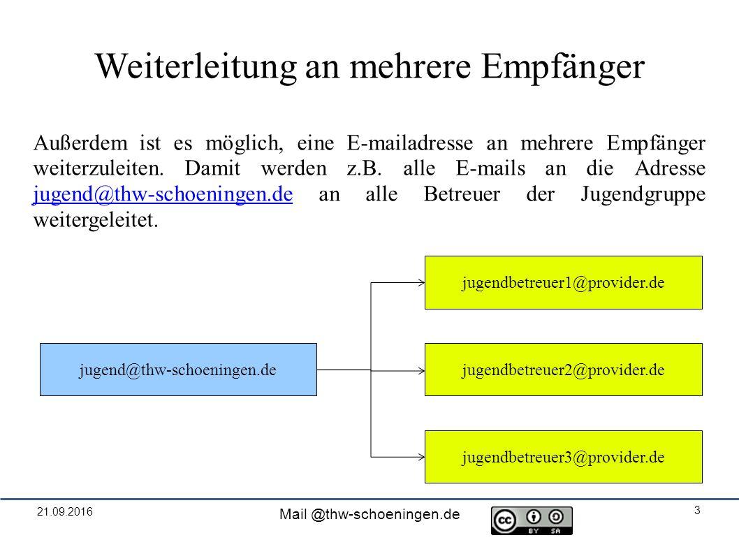 21.09.2016 Mail @thw-schoeningen.de 3 Weiterleitung an mehrere Empfänger Außerdem ist es möglich, eine E-mailadresse an mehrere Empfänger weiterzuleiten.