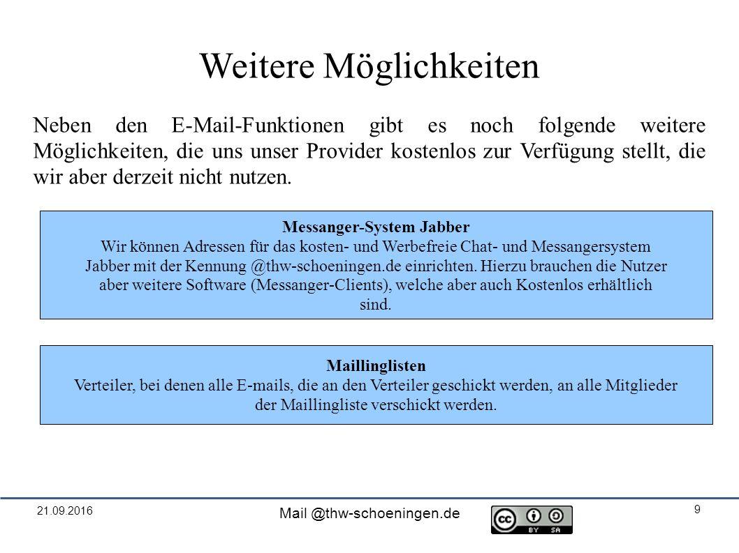 21.09.2016 Mail @thw-schoeningen.de 9 Weitere Möglichkeiten Neben den E-Mail-Funktionen gibt es noch folgende weitere Möglichkeiten, die uns unser Provider kostenlos zur Verfügung stellt, die wir aber derzeit nicht nutzen.