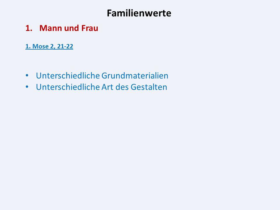 Familienwerte 1.Mann und Frau 1. Mose 2, 21-22 Unterschiedliche Grundmaterialien Unterschiedliche Art des Gestalten