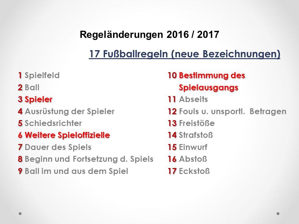 DFB Regeländerungen 2016 / 2017 17 Fußballregeln (neue Bezeichnungen) 110Bestimmung des 1 Spielfeld10 Bestimmung des 2 Spielausgangs 2 Ball Spielausgangs 3Spieler11 3 Spieler11 Abseits 412 4 Ausrüstung der Spieler12 Fouls u.