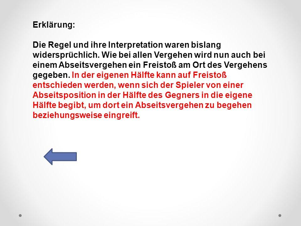 DFB Erklärung: Die Regel und ihre Interpretation waren bislang widersprüchlich.