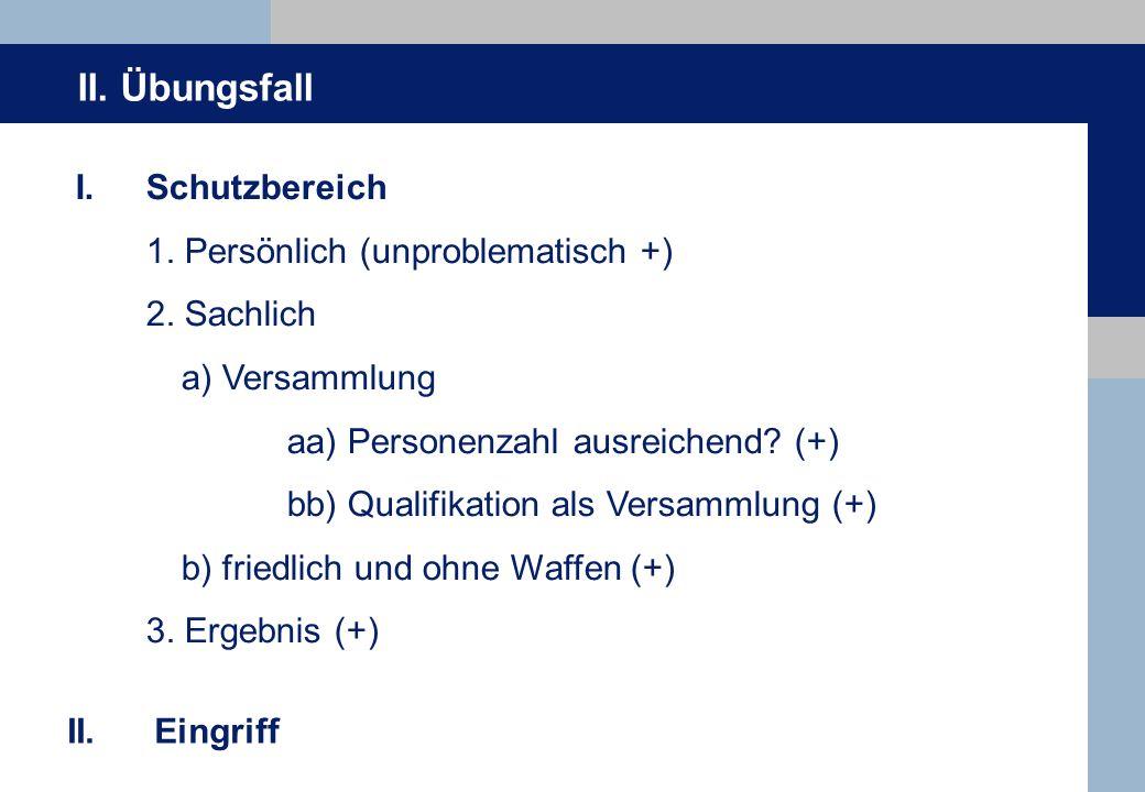 II. Übungsfall I.Schutzbereich 1. Persönlich (unproblematisch +) 2.