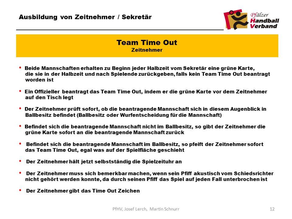 Team Time Out Zeitnehmer Ausbildung von Zeitnehmer / Sekretär Beide Mannschaften erhalten zu Beginn jeder Halbzeit vom Sekretär eine grüne Karte, die