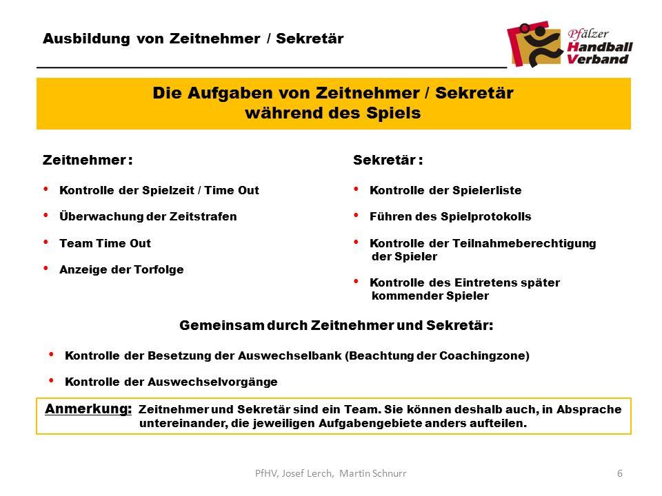 Die Aufgaben von Zeitnehmer / Sekretär während des Spiels Ausbildung von Zeitnehmer / Sekretär Zeitnehmer : Kontrolle der Spielzeit / Time Out Überwac