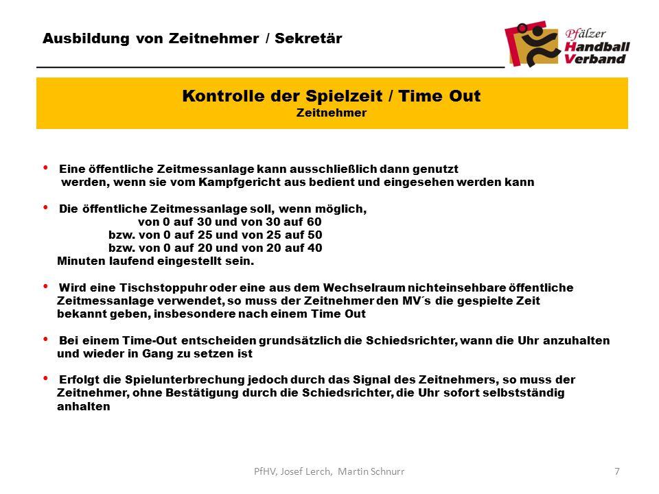 Kontrolle der Spielzeit / Time Out Zeitnehmer Ausbildung von Zeitnehmer / Sekretär Eine öffentliche Zeitmessanlage kann ausschließlich dann genutzt werden, wenn sie vom Kampfgericht aus bedient und eingesehen werden kann Die öffentliche Zeitmessanlage soll, wenn möglich, von 0 auf 30 und von 30 auf 60 bzw.