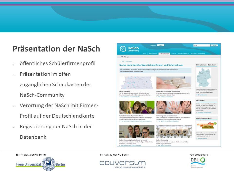 Ein Projekt der FU Berlin Im Auftrag der FU Berlin Gefördert durch Präsentation der NaSch öffentliches Schülerfirmenprofil Präsentation im offen zugänglichen Schaukasten der NaSch-Community Verortung der NaSch mit Firmen- Profil auf der Deutschlandkarte Registrierung der NaSch in der Datenbank