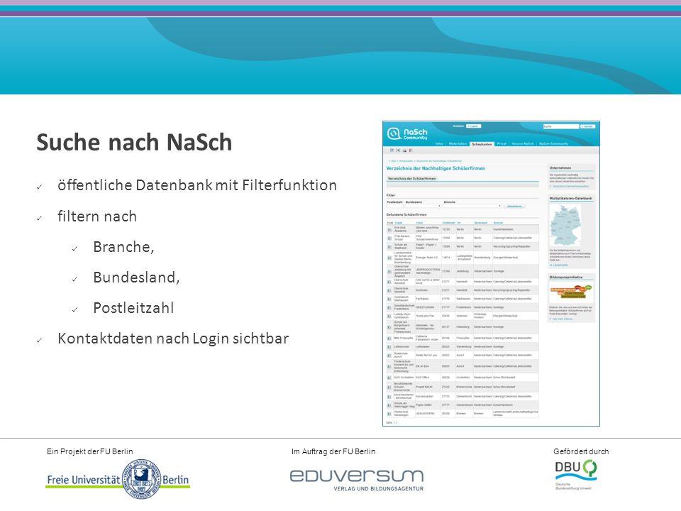 Ein Projekt der FU Berlin Im Auftrag der FU Berlin Gefördert durch Partner der NaSch-Community Sie unterstützen die NaSch- Community unter anderem mit Materialien, Expertise, Verlosungen.