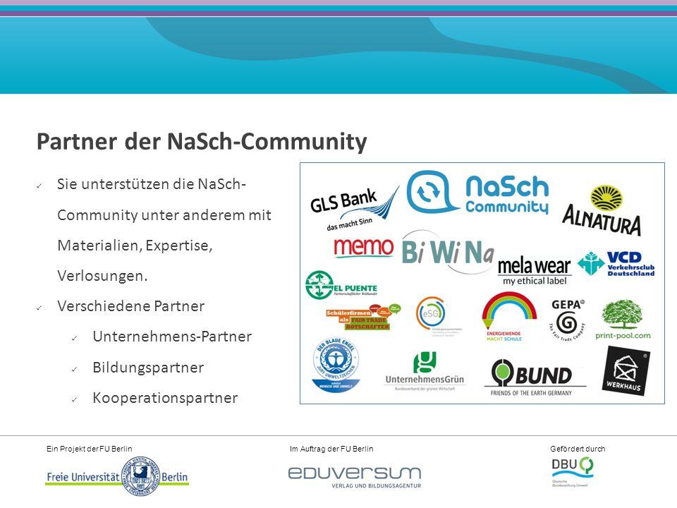 """Ein Projekt der FU Berlin Im Auftrag der FU Berlin Gefördert durch Aktiver Austausch in der Community mit anderen NaSch, Experten, Unternehmens-Partnern Foren wie """"Tipps & Hilfe , """"Suche-Biete , """"Praktika- und Jobbörse Materialbörse (von NaSch für NaSch) Wiki Mail/Messenger Expertenchats"""