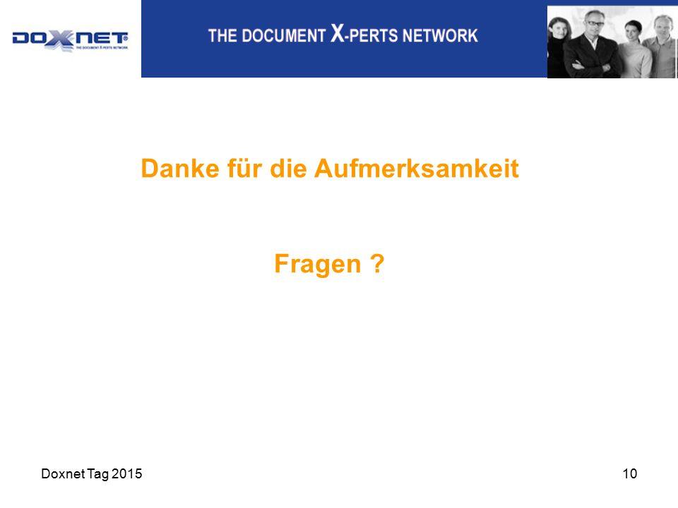 Doxnet Tag 201510 Danke für die Aufmerksamkeit Fragen ?