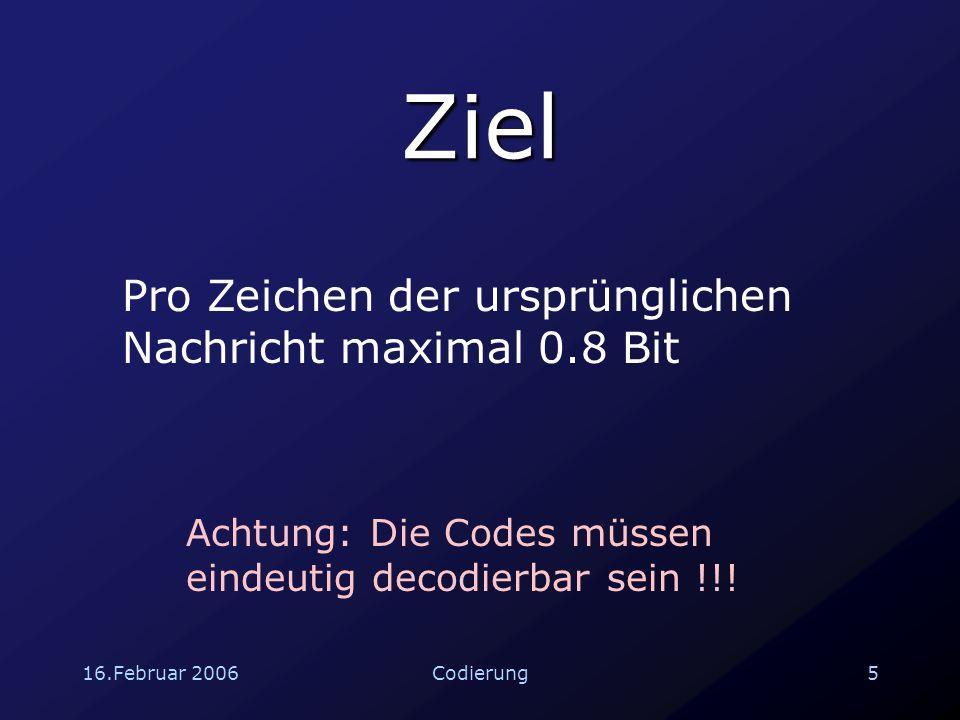 16.Februar 200616Codierung 2.1 Parity-Check 101 0 X 1 X 2 X 3 X 1 +X 2 +X 3 Man kann einen Fehler erkennen und keinen Fehler korrigieren.