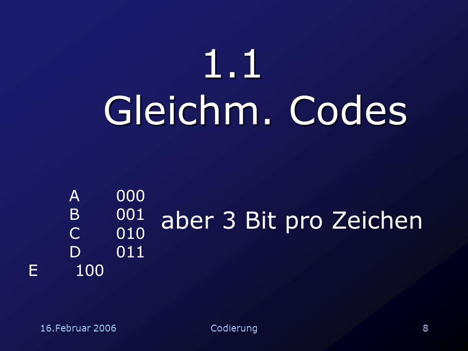 16.Februar 200619Codierung 2.3 Lineare Codes Über 94% der Pixel kommen richtig an Da sich zwei Codewörter an je 7 Stellen unterscheiden, können  6 Fehler erkannt und  3 Fehler korrigiert werden.