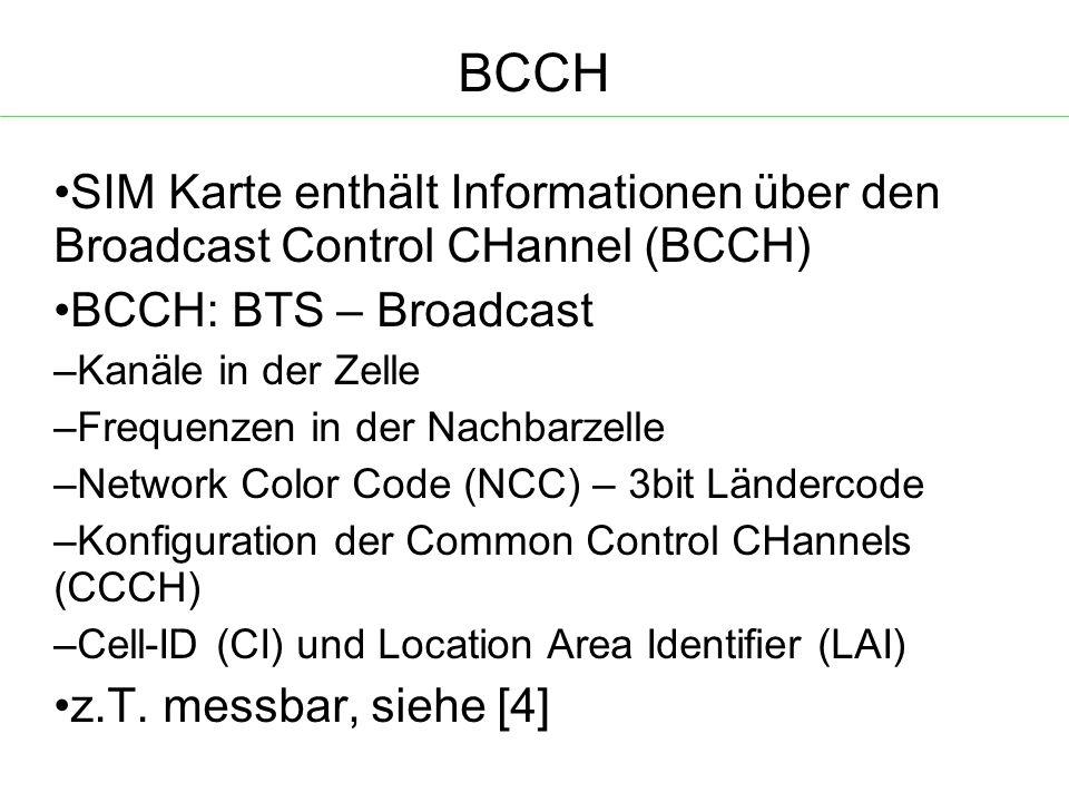 BCCH SIM Karte enthält Informationen über den Broadcast Control CHannel (BCCH)  BCCH: BTS – Broadcast – Kanäle in der Zelle – Frequenzen in der Nachbarzelle – Network Color Code (NCC) – 3bit Ländercode – Konfiguration der Common Control CHannels (CCCH)  – Cell-ID (CI) und Location Area Identifier (LAI) z.T.