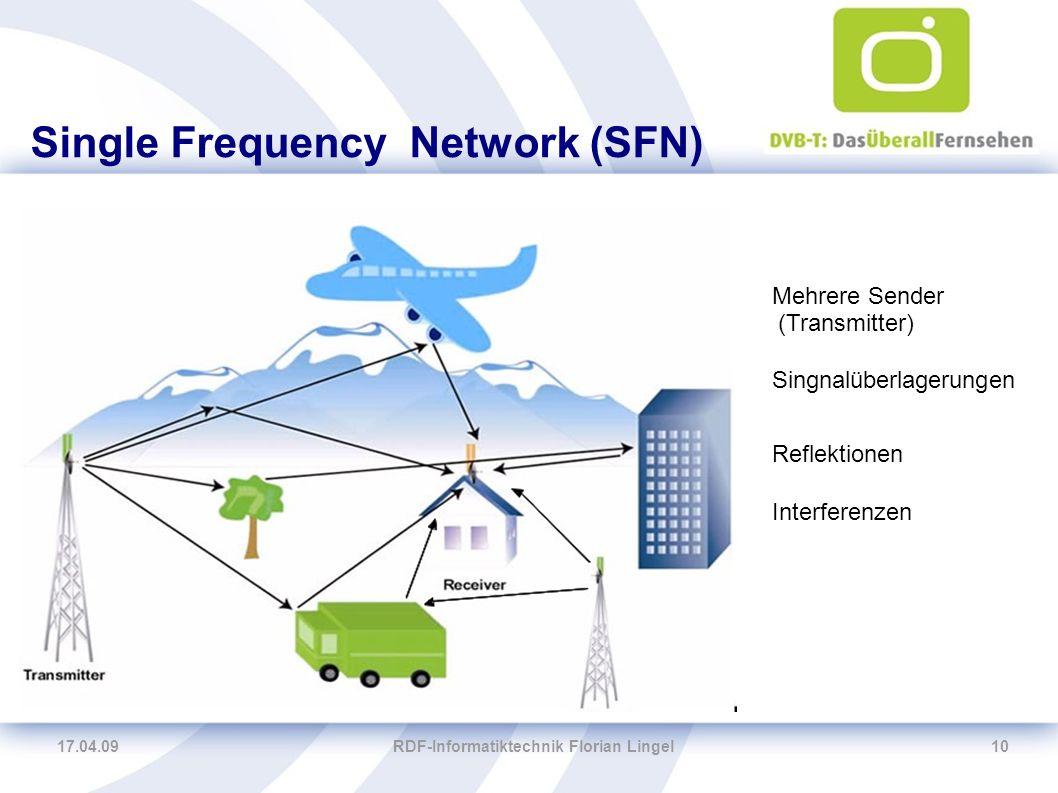 17.04.09RDF-Informatiktechnik Florian Lingel10 Single Frequency Network (SFN) Singnalüberlagerungen Interferenzen Mehrere Sender (Transmitter) Reflekt