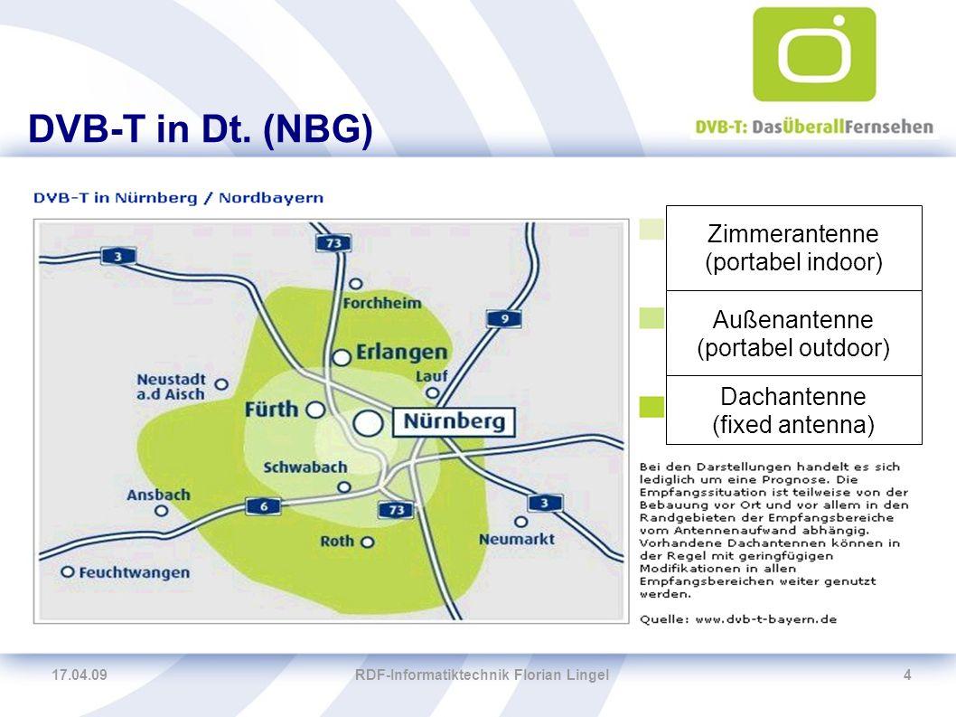 17.04.09RDF-Informatiktechnik Florian Lingel15 Nettobitraten 8-MHz-Kanal -16-QAM -Coderate 2/3 oder 3/4 -Guard interval: 1/4 → ca.