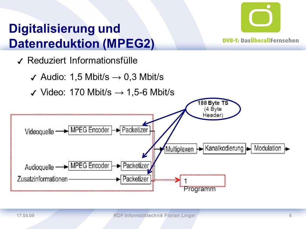 17.04.09RDF-Informatiktechnik Florian Lingel6 Digitalisierung und Datenreduktion (MPEG2) ✔ Reduziert Informationsfülle ✔ Audio: 1,5 Mbit/s → 0,3 Mbit/