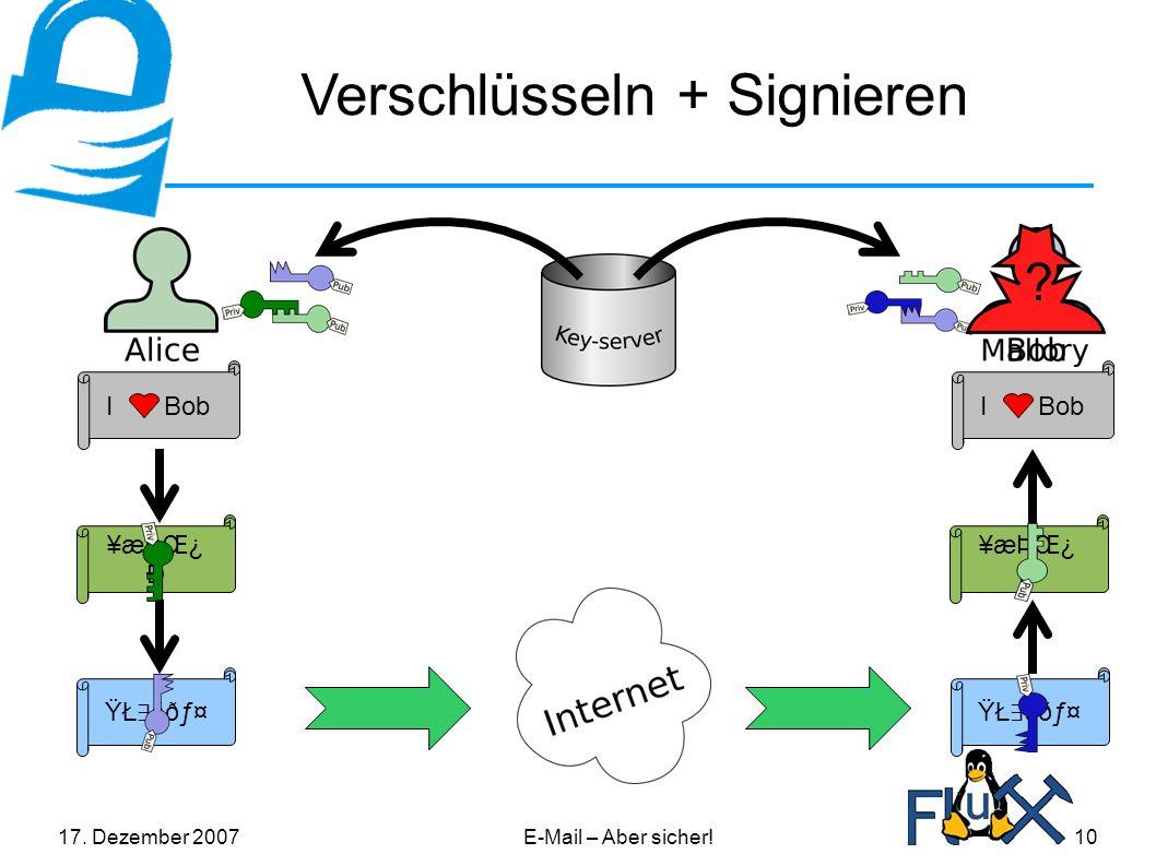 17.Dezember 2007E-Mail – Aber sicher!10 Verschlüsseln + Signieren I Bob ¥æÞŒ¿ Ð .