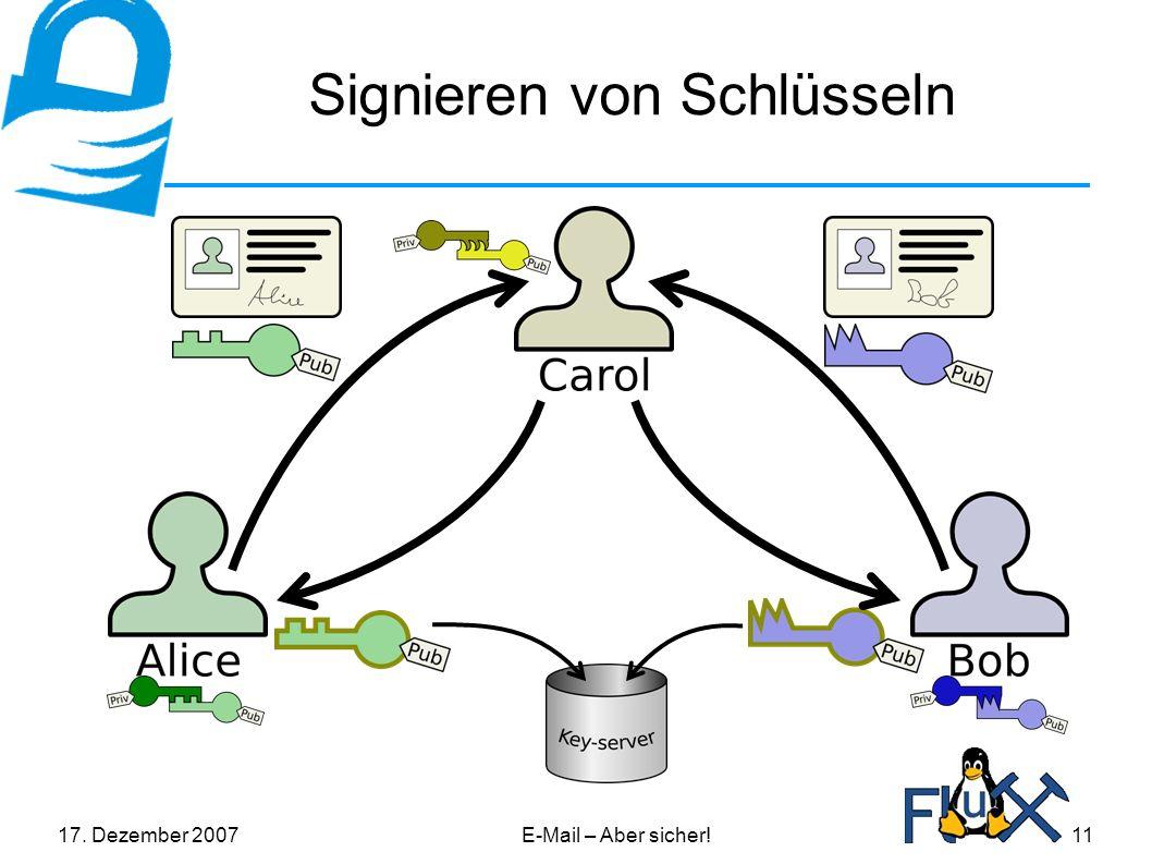 17. Dezember 2007E-Mail – Aber sicher!11 Signieren von Schlüsseln