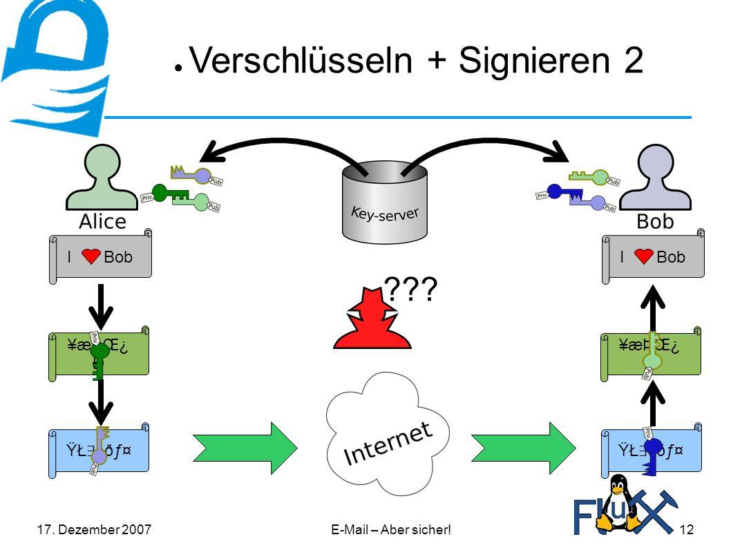 17. Dezember 2007E-Mail – Aber sicher!12 ● Verschlüsseln + Signieren 2 I Bob ¥æÞŒ¿ Ð .