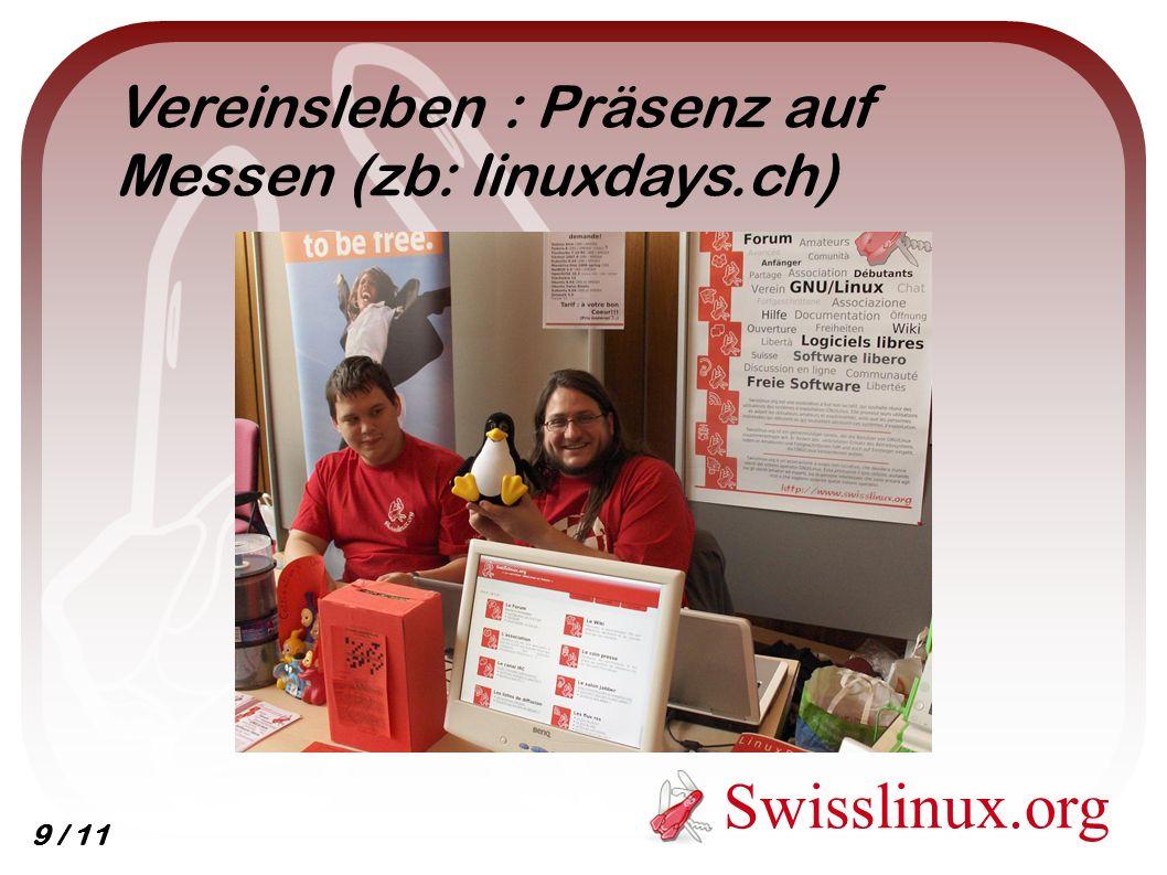 Swisslinux.org Vereinsleben : Präsenz auf Messen (zb: linuxdays.ch) 9 / 11
