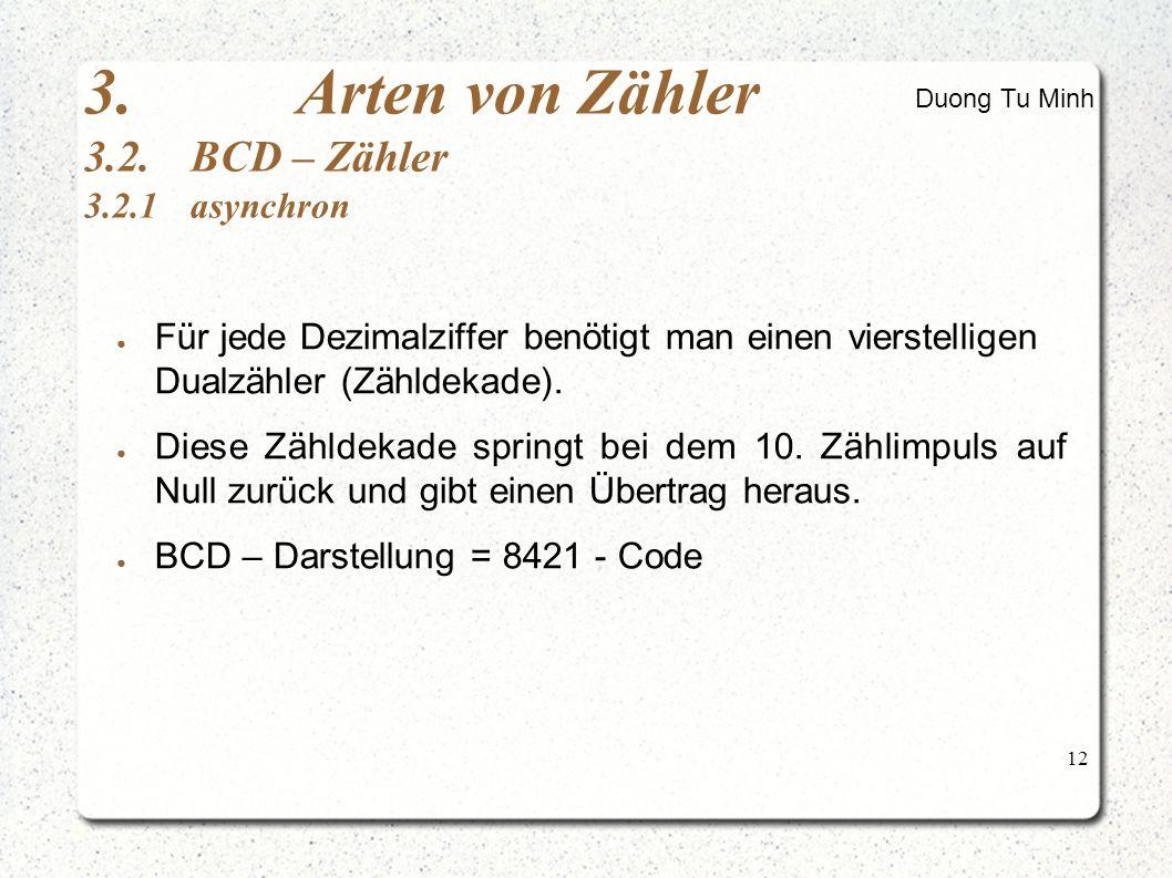 12 ● Für jede Dezimalziffer benötigt man einen vierstelligen Dualzähler (Zähldekade).