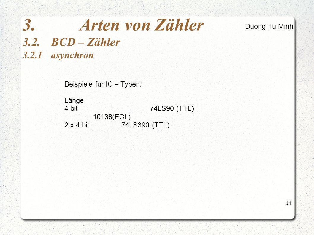 14 3.Arten von Zähler 3.2.BCD – Zähler 3.2.1asynchron Beispiele für IC – Typen: Länge 4 bit74LS90 (TTL) 10138(ECL) 2 x 4 bit74LS390 (TTL) Duong Tu Minh