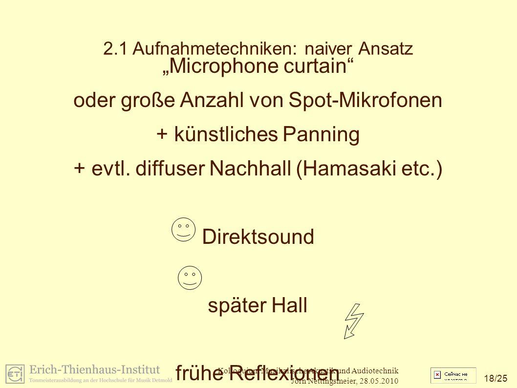 """18 /25 Kolloquium Musikalische Akustik und Audiotechnik Jörn Nettingsmeier, 28.05.2010 2.1 Aufnahmetechniken: naiver Ansatz """"Microphone curtain oder große Anzahl von Spot-Mikrofonen + künstliches Panning + evtl."""
