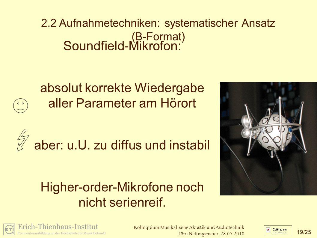 19 /25 Kolloquium Musikalische Akustik und Audiotechnik Jörn Nettingsmeier, 28.05.2010 2.2 Aufnahmetechniken: systematischer Ansatz (B-Format) Soundfield-Mikrofon: absolut korrekte Wiedergabe aller Parameter am Hörort aber: u.U.