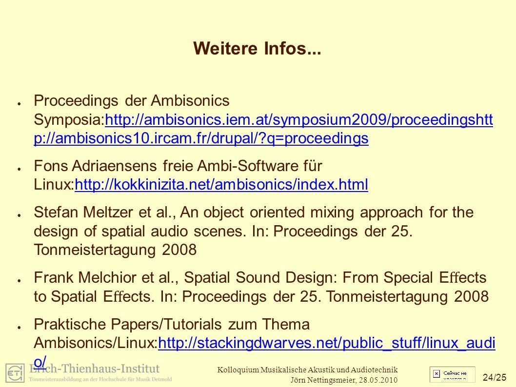 24 /25 Kolloquium Musikalische Akustik und Audiotechnik Jörn Nettingsmeier, 28.05.2010 Weitere Infos...