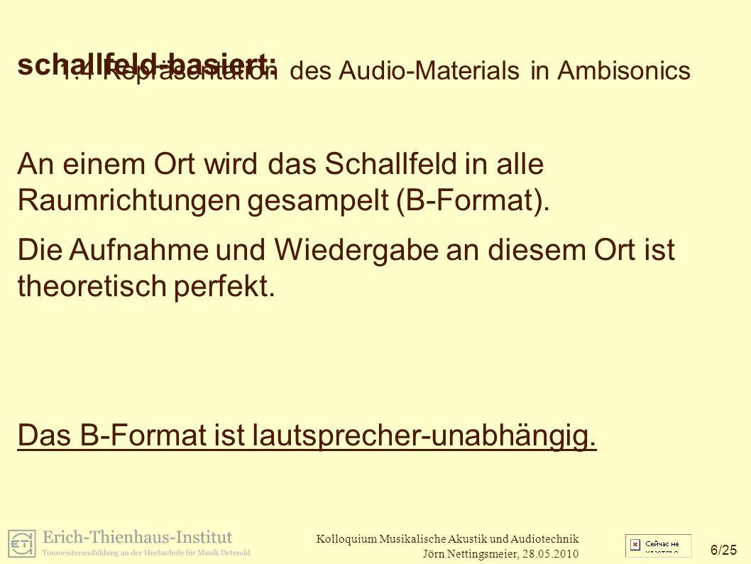 17 /25 Kolloquium Musikalische Akustik und Audiotechnik Jörn Nettingsmeier, 28.05.2010 2.