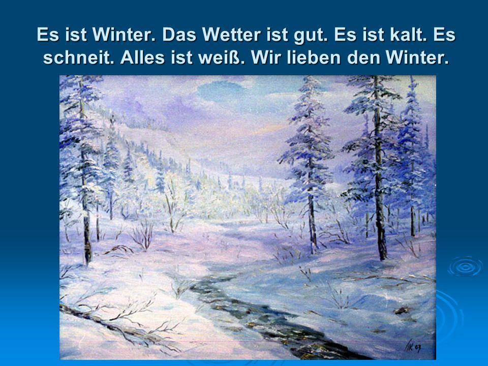 Es ist Winter. Das Wetter ist gut. Es ist kalt. Es schneit. Alles ist weiß. Wir lieben den Winter.