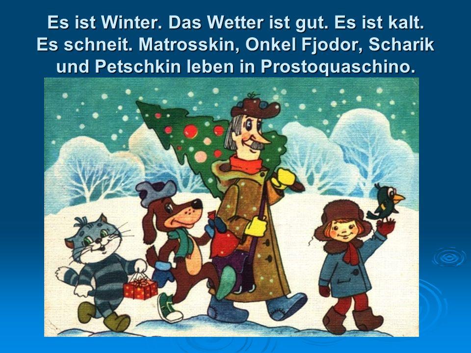 Es ist Winter. Das Wetter ist gut. Es ist kalt. Es schneit. Matrosskin, Onkel Fjodor, Scharik und Petschkin leben in Prostoquaschino.