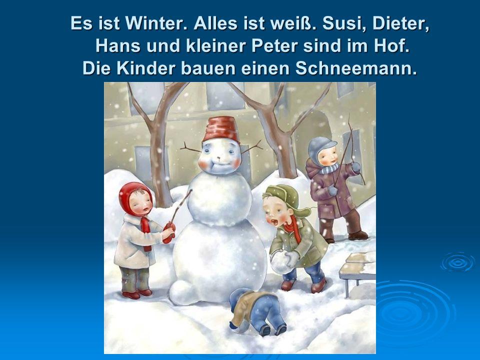 Es ist Winter. Alles ist weiß. Susi, Dieter, Hans und kleiner Peter sind im Hof. Die Kinder bauen einen Schneemann.