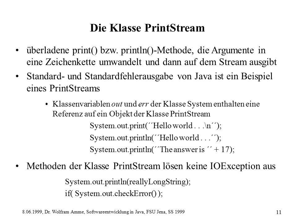 8.06.1999, Dr. Wolfram Amme, Softwareentwicklung in Java, FSU Jena, SS 1999 11 Die Klasse PrintStream überladene print() bzw. println()-Methode, die A