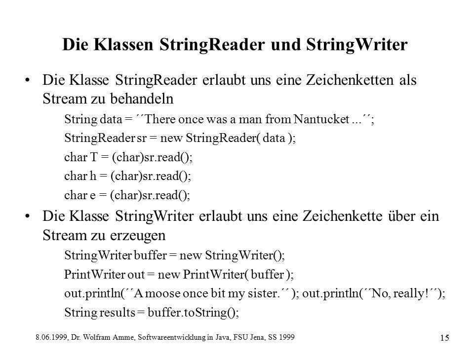 8.06.1999, Dr. Wolfram Amme, Softwareentwicklung in Java, FSU Jena, SS 1999 15 Die Klassen StringReader und StringWriter Die Klasse StringReader erlau