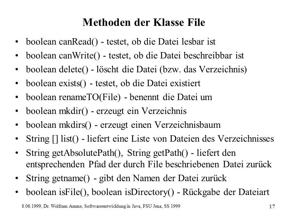 8.06.1999, Dr. Wolfram Amme, Softwareentwicklung in Java, FSU Jena, SS 1999 17 Methoden der Klasse File boolean canRead() - testet, ob die Datei lesba