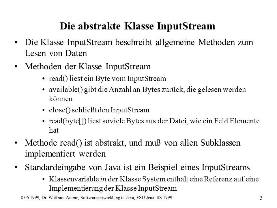 8.06.1999, Dr. Wolfram Amme, Softwareentwicklung in Java, FSU Jena, SS 1999 3 Die abstrakte Klasse InputStream Die Klasse InputStream beschreibt allge