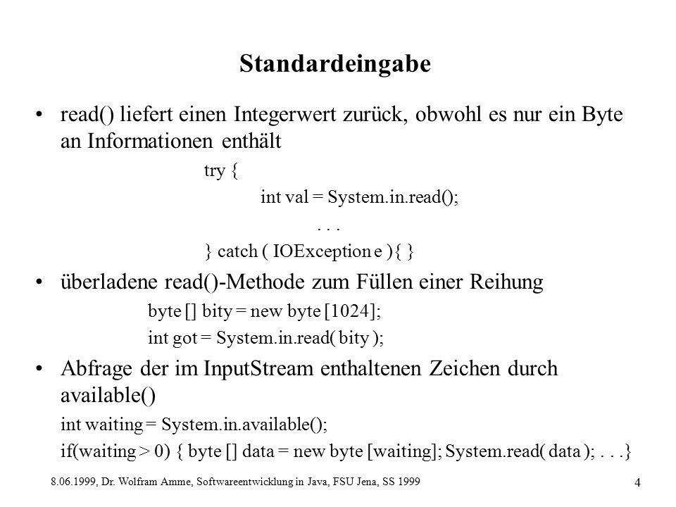 8.06.1999, Dr. Wolfram Amme, Softwareentwicklung in Java, FSU Jena, SS 1999 4 Standardeingabe read() liefert einen Integerwert zurück, obwohl es nur e