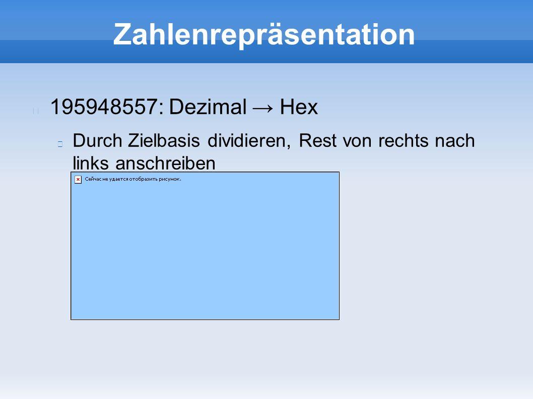 Zahlenrepräsentation 195948557: Dezimal → Hex Durch Zielbasis dividieren, Rest von rechts nach links anschreiben