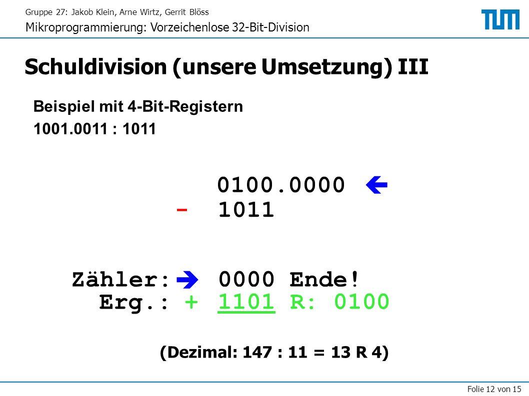 Gruppe 27: Jakob Klein, Arne Wirtz, Gerrit Blöss Mikroprogrammierung: Vorzeichenlose 32-Bit-Division Folie 12 von 15 Schuldivision (unsere Umsetzung) III Beispiel mit 4-Bit-Registern 1001.0011 : 1011 1001.0011 1011 1|0010.0110  - 0111.0110 1000  0000Erg.: Zähler: + 1000 0100 1110.1100 0011.1100 1100 0010 0111.1000 0001 1111.0000 0100.0000 1101 0000 Ende.