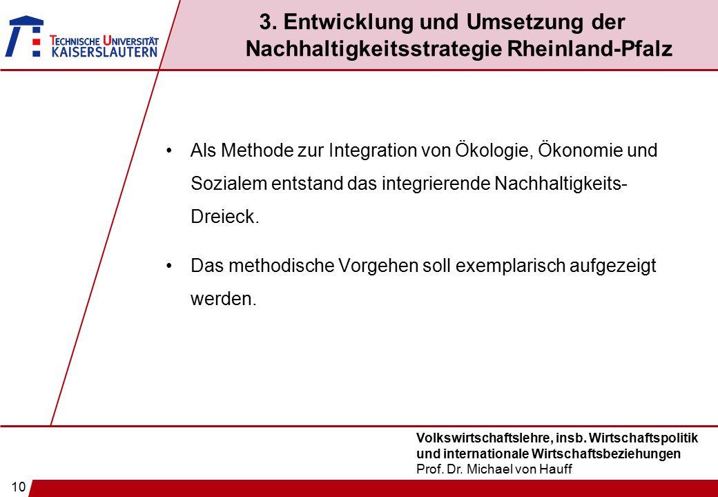 10 Volkswirtschaftslehre, insb. Wirtschaftspolitik und internationale Wirtschaftsbeziehungen Prof. Dr. Michael von Hauff 3. Entwicklung und Umsetzung