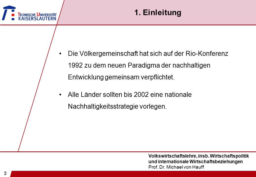 3 Volkswirtschaftslehre, insb. Wirtschaftspolitik und internationale Wirtschaftsbeziehungen Prof. Dr. Michael von Hauff 1. Einleitung Die Völkergemein
