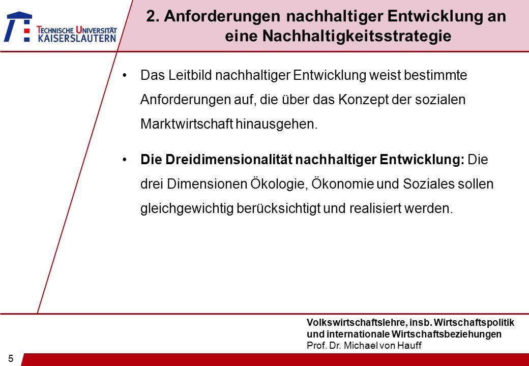 5 Volkswirtschaftslehre, insb. Wirtschaftspolitik und internationale Wirtschaftsbeziehungen Prof. Dr. Michael von Hauff 2. Anforderungen nachhaltiger