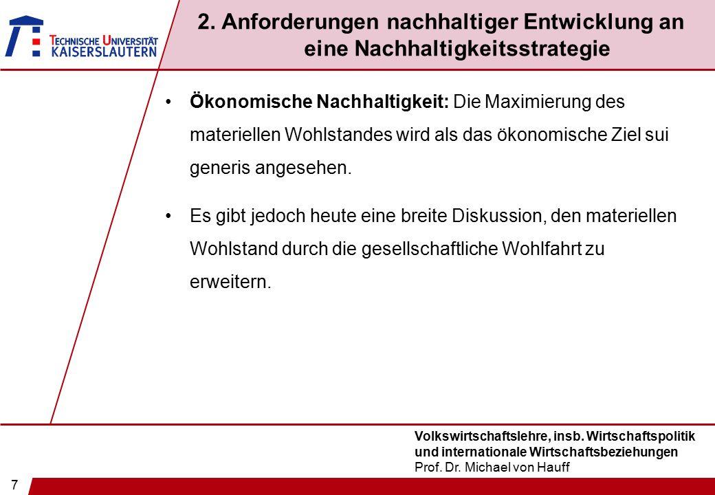 7 Volkswirtschaftslehre, insb. Wirtschaftspolitik und internationale Wirtschaftsbeziehungen Prof. Dr. Michael von Hauff 2. Anforderungen nachhaltiger