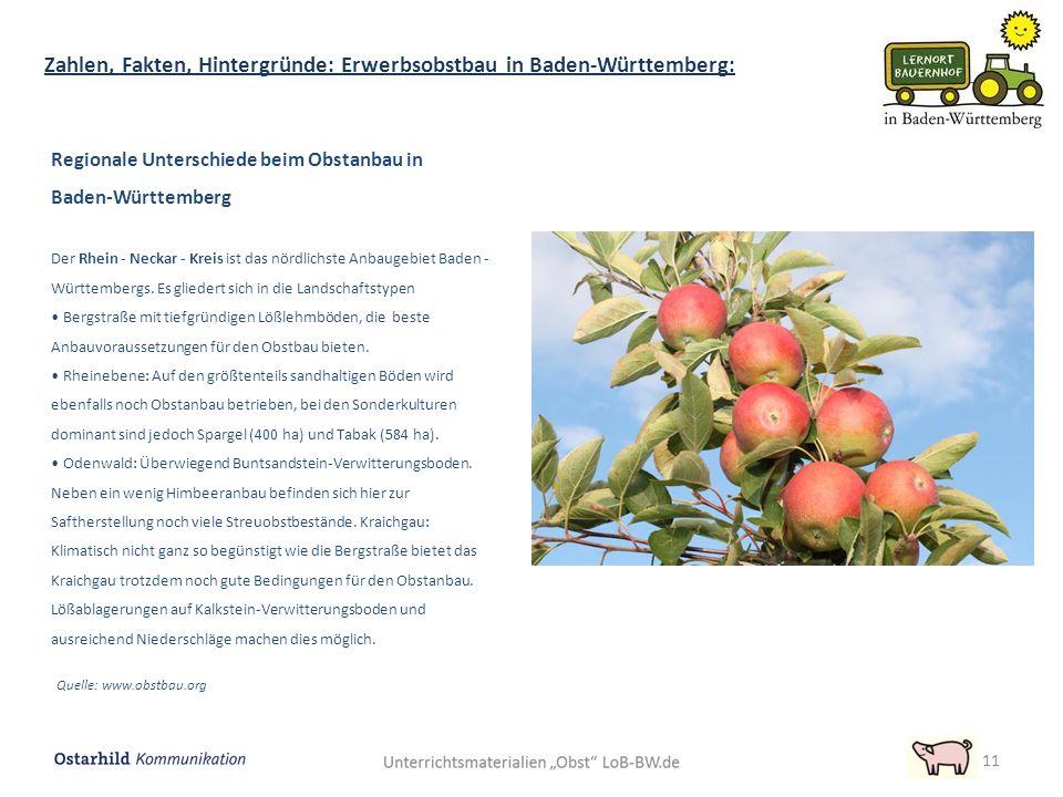 Regionale Unterschiede beim Obstanbau in Baden-Württemberg Der Rhein - Neckar - Kreis ist das nördlichste Anbaugebiet Baden - Württembergs.