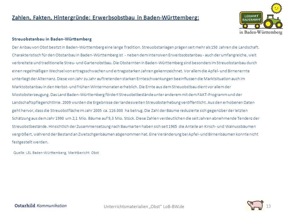 Streuobstanbau in Baden-Württemberg Der Anbau von Obst besitzt in Baden-Württemberg eine lange Tradition. Streuobstanlagen prägen seit mehr als 150 Ja