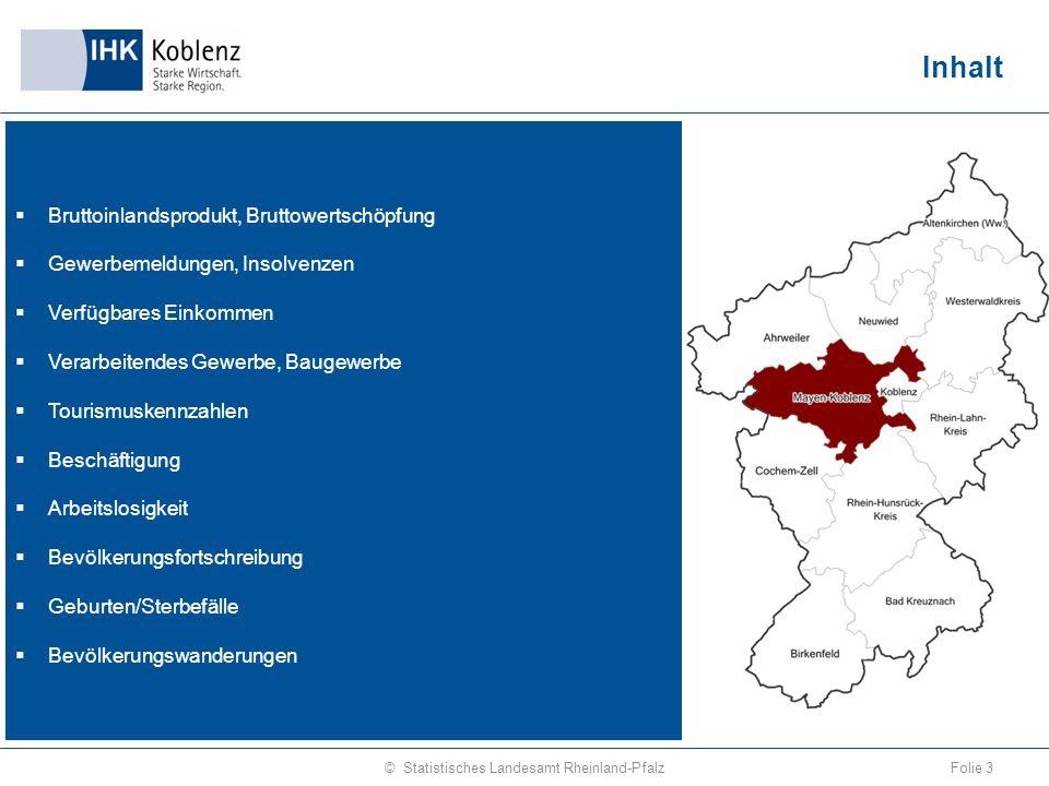 Bruttoinlandsprodukt zu Marktpreisen je Erwerbstätigen 2013 Folie 4© Statistisches Landesamt Rheinland-Pfalz Quelle: Volkswirtschaftliche Gesamtrechnungen
