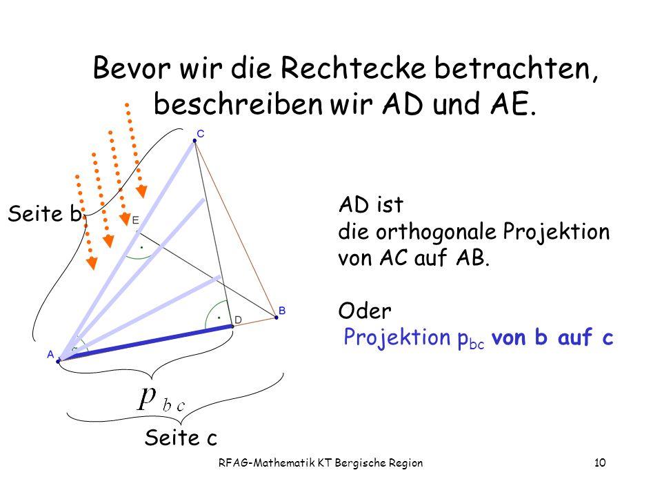 RFAG-Mathematik KT Bergische Region10 Bevor wir die Rechtecke betrachten, beschreiben wir AD und AE.